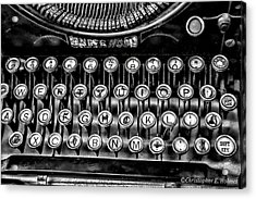 Antique Keyboard - Bw Acrylic Print by Christopher Holmes