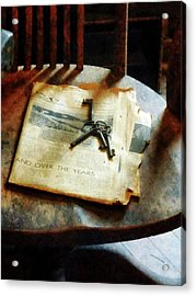 Acrylic Print featuring the photograph Antique Keys On Newspaper by Susan Savad