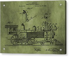 Antique Locomotive Train Patent Acrylic Print by Dan Sproul