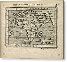 Antique Map Of Africa By Abraham Ortelius - 1603 Acrylic Print