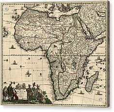 Antique Map Of Africa By Frederik De Wit - Circa 1688 Acrylic Print by Blue Monocle