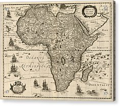 Antique Map Of Africa By Jodocus Hondius - Circa 1640 Acrylic Print by Blue Monocle