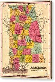 Antique Map Of Alabama 1833 Acrylic Print