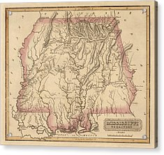 Antique Map Of Alabama And Mississippi By Fielding Lucas - Circa 1817 Acrylic Print by Blue Monocle