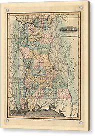 Antique Map Of Alabama By Fielding Lucas - 1826 Acrylic Print