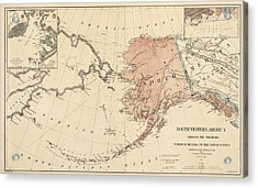 Antique Map Of Alaska - 1867 Acrylic Print by Blue Monocle