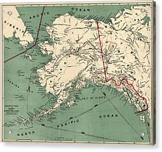 Antique Map Of Alaska By J. J. Millroy - 1897 Acrylic Print by Blue Monocle