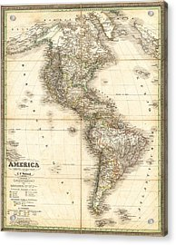 Antique Map Of Americas Acrylic Print by Celestial Images