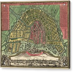 Antique Map Of Amsterdam Netherlands - 1727 Acrylic Print by Blue Monocle