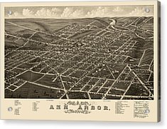 Antique Map Of Ann Arbor Michigan By A. Ruger - 1880 Acrylic Print by Blue Monocle