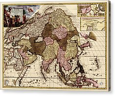 Antique Map Of Asia By Pieter Van Der Aa - Circa 1680 Acrylic Print by Blue Monocle