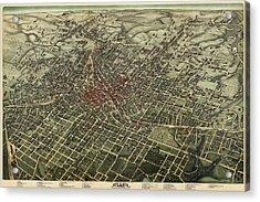 Antique Map Of Atlanta Georgia By Augustus Koch - 1892 Acrylic Print
