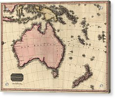 Antique Map Of Australia And The Pacific Islands By John Pinkerton - 1818 Acrylic Print