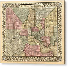 Antique Map Of Baltimore 1867 Acrylic Print by Mountain Dreams
