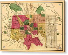 Antique Map Of Baltimore 1873 Acrylic Print by Mountain Dreams