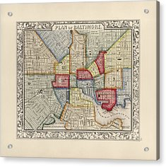 Antique Map Of Baltimore Maryland By Samuel Augustus Mitchell - 1863 Acrylic Print