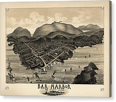 Antique Map Of Bar Harbor Maine By G. W. Morris - 1886 Acrylic Print by Blue Monocle