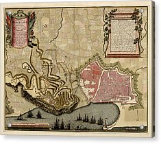 Antique Map Of Barcelona Spain By Anna Beeck - Circa 1706 Acrylic Print by Blue Monocle