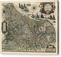 Acrylic Print featuring the drawing Antique Map Of Belgium And The Netherlands By Willem Janszoon Blaeu - 1647 by Blue Monocle