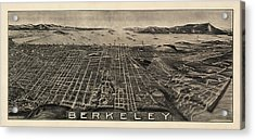 Antique Map Of Berkeley California By Charles Green - Circa 1909 Acrylic Print by Blue Monocle