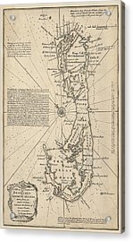 Acrylic Print featuring the drawing Antique Map Of Bermuda By Emanuel Bowen - 1750 by Blue Monocle