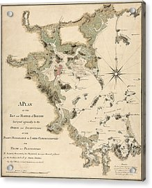 Antique Map Of Boston Harbor By Thomas Wheeler - Circa 1775 Acrylic Print by Blue Monocle