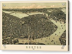 Antique Map Of Boston Massachusetts By A.e. Downs - Circa 1899 Acrylic Print by Blue Monocle