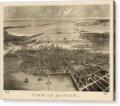 Antique Map Of Boston Massachusetts By F. Fuchs - 1870 Acrylic Print by Blue Monocle