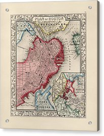 Antique Map Of Boston Massachusetts By Samuel Augustus Mitchell - 1863 Acrylic Print by Blue Monocle
