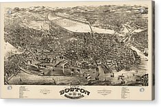 Antique Map Of Boston Masschusetts By H.h. Rowley And Co. - 1880 Acrylic Print by Blue Monocle