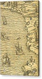 Antique Map Of Brazilian Coast Acrylic Print