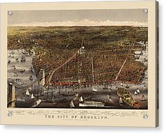 Antique Map Of Brooklyn By Currier And Ives - Circa 1879 Acrylic Print by Blue Monocle