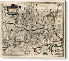 Acrylic Print featuring the drawing Antique Map Of Bulgaria Romania And Serbia By Willem Janszoon Blaeu - 1647 by Blue Monocle