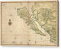 Antique Map Of California As An Island By Joan Vinckeboons - 1650 Acrylic Print by Blue Monocle