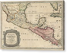 Antique Map Of Central America By Nicolas Sanson - 1656 Acrylic Print