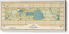 Antique Map Of Central Park New York City By Oscar Hinrichs - 1875 Acrylic Print