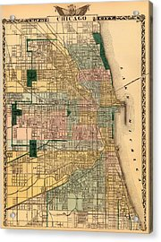 Antique Map Of Chicago 1876 Acrylic Print