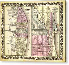 Antique Map Of Chicago And St Louis 1855 Acrylic Print by Mountain Dreams