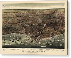 Antique Map Of Chicago By Currier And Ives - 1892 Acrylic Print