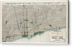 Antique Map Of Chicago By Willis J. Champion - 1908 Acrylic Print