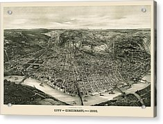 Antique Map Of Cincinnati Ohio By John L. Trout - 1900 Acrylic Print by Blue Monocle