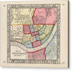 Antique Map Of Cincinnati Ohio By Samuel Augustus Mitchell - 1863 Acrylic Print
