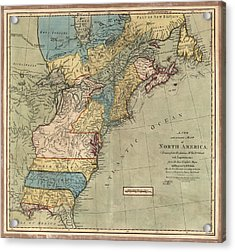 Antique Map Of Colonial America By Peter Bell - 1771 Acrylic Print by Blue Monocle