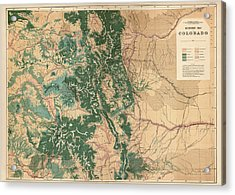 Antique Map Of Colorado - 1877 Acrylic Print by Blue Monocle