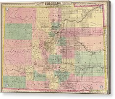 Antique Map Of Colorado By G.w. And C.b. Colton And Co. - 1878 Acrylic Print by Blue Monocle