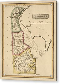 Antique Map Of Delaware By Fielding Lucas - Circa 1817 Acrylic Print by Blue Monocle
