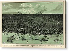 Antique Map Of Detroit Michigan - Circa 1889 Acrylic Print by Blue Monocle