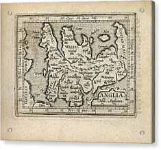 Antique Map Of England And Wales By Abraham Ortelius - 1603 Acrylic Print