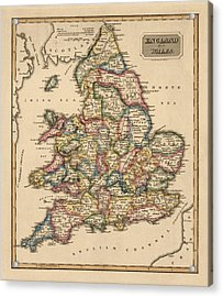 Antique Map Of England And Wales By Fielding Lucas - Circa 1817 Acrylic Print