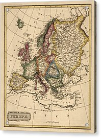 Antique Map Of Europe By Fielding Lucas - Circa 1817 Acrylic Print by Blue Monocle